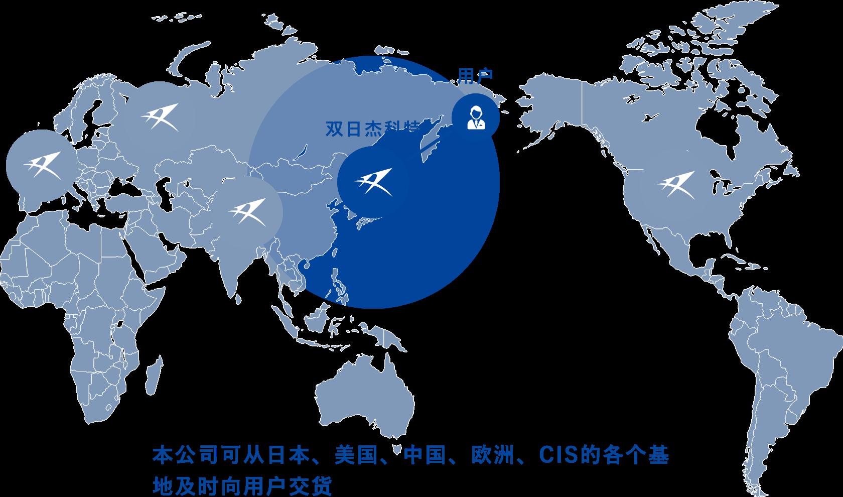 本公司可从日本,美国,中国,欧洲,CIS的各个基地及时向用户交货